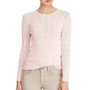 Ralph Lauren Pink Cable Knit Crew Neck Sweater
